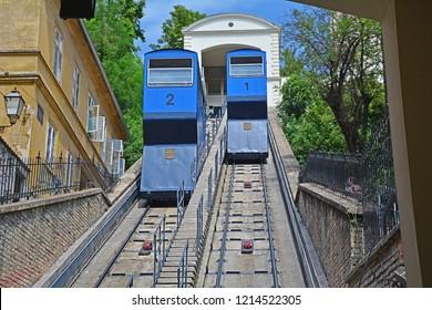 ZAGREB, CROATIA - AUGUST 12, 2018 - Historic Zagreb Funicular (Zagrebacka uspinjaca), operated by ZET Zagreb, opened in 1890