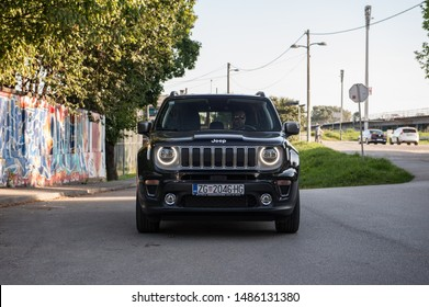 ZAGREB, CROATIA - AUGUST 15, 2019: New Jeep Renegade 4x4 vehicle in urban environment. Modern SUV car in the city.  Front LED lights.