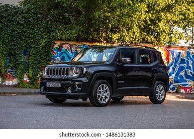 ZAGREB, CROATIA - AUGUST 15, 2019: New Jeep Renegade 4x4 vehicle in urban environment. Modern SUV car in the city.