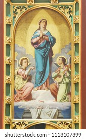 ZAGREB, CROATIA - AUGUST 16: Assumption of Virgin Mary, altar of Virgin Mary in Zagreb cathedral dedicated to the Assumption of Mary in Zagreb on August 16, 2017.
