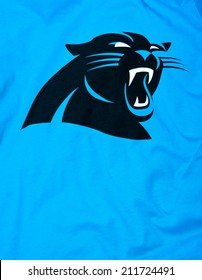 ZAGREB , CROATIA - AUGUST 19 , 2014 :  NFL Carolina Panthers club logo printed on textile equipment ,product shot