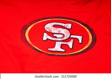 ZAGREB , CROATIA - AUGUST 19 , 2014 :  NFL San Francisco 49ers club logo printed on textile equipment ,product shot