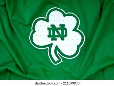 ZAGREB , CROATIA - AUGUST 19 , 2014 :  Notre Dame Boston University logo printed on textile equipment ,product shot
