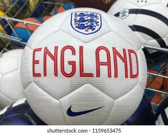 ZAGREB, CROATIA - AUGUST 19, 2018. - Football ball with emblem of English football federation.