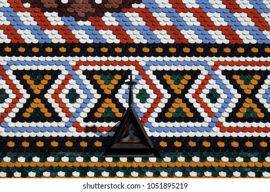 ZAGREB, CROATIA - AUGUST 19: Checkered tiled rooftop of St Mark's church in Zagreb, Croatia on August 19, 2017.