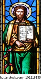 ZAGREB, CROATIA - AUGUST 19: Saint Luke the Evangelist, stained glass window in parish church of Saint Mark in Zagreb, Croatia on August 19, 2017.