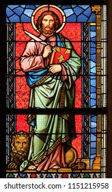 ZAGREB, CROATIA - AUGUST 19: Saint Mark the Evangelist, stained glass window in parish church of Saint Mark in Zagreb, Croatia on August 19, 2017.