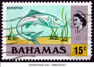 ZAGREB, CROATIA - AUGUST 2, 2019: a stamp printed in Bahamas shows bonefish (albula vulpes), is a fish, circa 1971