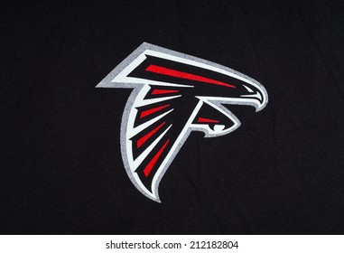 ZAGREB , CROATIA - AUGUST 21 , 2014 :  NFL Atlanta Falcons club logo printed on textile equipment ,product shot