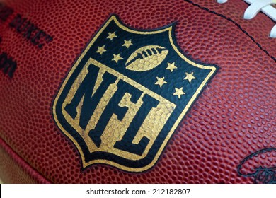 ZAGREB , CROATIA - AUGUST 21 , 2014 :  NFL logo printed on official NFL ball the Duke ,product shot