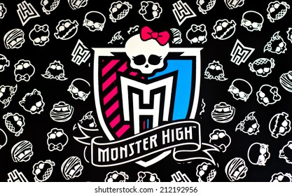 ZAGREB , CROATIA - AUGUST 21 , 2014 :  Monster high children toy brand logo printed on box, product shot