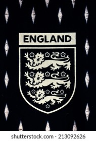 ZAGREB , CROATIA - AUGUST 21 , 2014 :  The Three Lions Logo from England National Football team official jersey