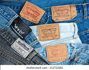 ZAGREB , CROATIA - AUGUST 24 , 2014 : Various Levis Jeans labels collection close up ,  product shot