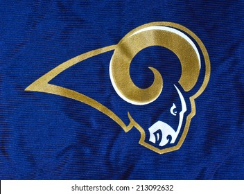 ZAGREB , CROATIA - AUGUST 24 , 2014 :  NFL St Louis Rams club logo printed on textile, product shot