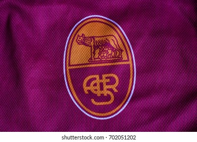 ZAGREB, CROATIA - AUGUST 24, 2017. - Italian football club Roma emblem on football jersey.
