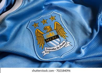 ZAGREB, CROATIA - AUGUST 24, 2017. - English football club Manchester City emblem on football jersey.