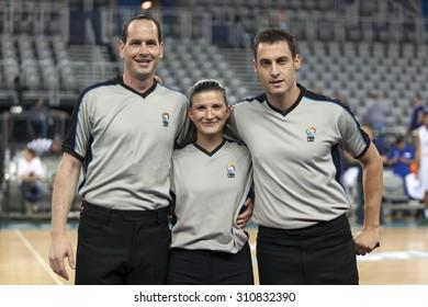 ZAGREB, CROATIA - AUGUST 27, 2015: Preparation game  for FIBA EuroBasket 2015 -  Israel VS Estonia. Referees posing before the match.