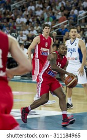 ZAGREB, CROATIA - AUGUST 28, 2015: The preparatory match ahead of the EuroBasket 2015 between Croatia and Israel. Croatian player Dontaye Draper with the ball and Mekel and Rudez in background