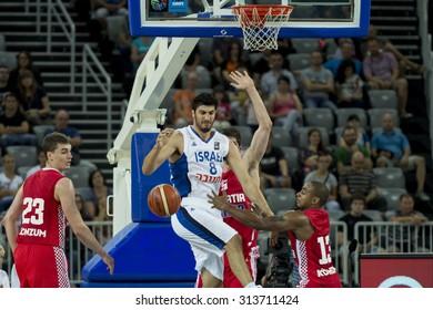 ZAGREB, CROATIA - AUGUST 28, 2015: The preparatory match ahead of the EuroBasket 2015 between Croatia and Israel. Israeli player Lior Eliyahu in air.