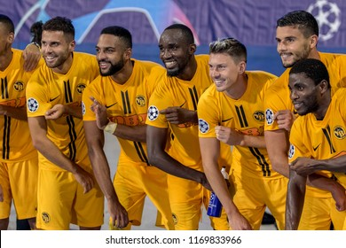 ZAGREB, CROATIA - AUGUST 28, 2018: UEFA Champions League Playoffs, GNK Dinamo vs. BSC Young Boys. Young Boys players celebrating victory