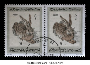 "ZAGREB, CROATIA - AUGUST 29, 2014: Stamp printed in Austria shows ""Young Hare"" by Albrecht Durer, European Hare (Lepus europae), circa 1969."
