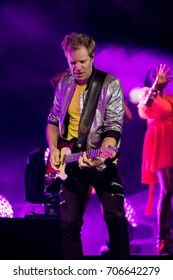 ZAGREB, CROATIA - AUGUST 29, 2017:Duran Duran Paper gods on tour 2017 at Salata Zagreb. Dominic Brown guitarist of the band Duran Duran on stage