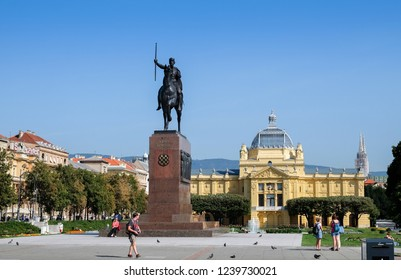 ZAGREB, CROATIA - AUGUST 29, 2018: The monument of Kralj Tomislav - First King of Croatia