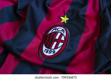 ZAGREB, CROATIA - AUGUST 5, 2017. - Italian football club AC Milan emblem on jersey.