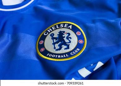 ZAGREB, CROATIA - AUGUST 5, 2017. - English football club Chelsea emblem on jersey.