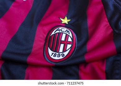 ZAGREB, CROATIA - AUGUST 8, 2017. - Italian football club AC Milan emblem on jersey.