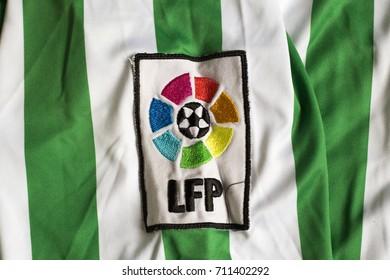 ZAGREB, CROATIA - AUGUST 8, 2017. - Liga de Fútbol Profesional (National Professional Football League) emblem on jersey.