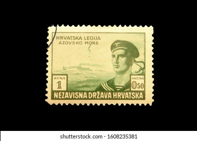 ZAGREB, CROATIA, CIRCA 1941 - Post stamp of the Independent State of Croatia in memory of nazist Croatia legion circa 1941 in Zagreb, Croatia
