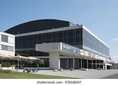 Zagreb, Croatia - Circa 2016: Vatroslav Lisinski Concert Hall in Zagreb, Croatia. It is one of the most famous concert halls in Croatia.