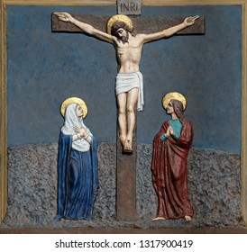 ZAGREB, CROATIA - DECEMBER 01, 2016: 12th Stations of the Cross, Jesus dies on the cross, church of Immaculate Conception of the Virgin Mary in Malesnica, Zagreb, Croatia