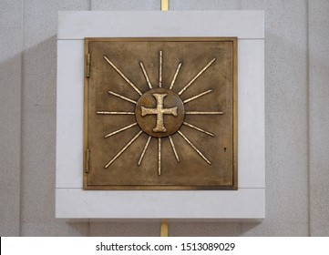 ZAGREB, CROATIA - DECEMBER 01, 2016: Tabernacle on the altar of the church of Immaculate Conception of the Virgin Mary in Malesnica residential area, Zagreb, Croatia