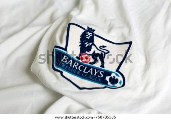 ZAGREB, CROATIA - DECEMBER 05, 2017. - English football Premier league emblem on jersey.