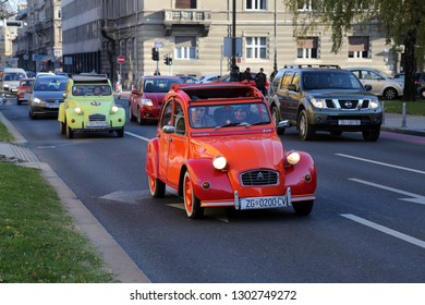 ZAGREB, CROATIA - DECEMBER 07: Citroen 2CV, vintage cars exhibited during the Retro Mobile Parade in Zagreb, Croatia, on December 07, 2013.