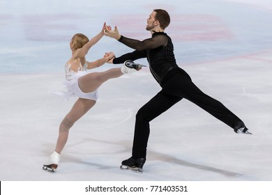ZAGREB, CROATIA - DECEMBER 08, 2017: Figure skating competition Golden Spin of Zagreb 2017. Tarah Kayne and Danny O'Shea USA
