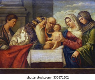 ZAGREB, CROATIA - DECEMBER 08: Francesco Bissola: Circumcision of Christ, Old Masters Collection, Croatian Academy of Sciences, December 08, 2014 in Zagreb, Croatia