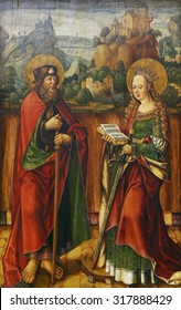 ZAGREB, CROATIA - DECEMBER 08: Jacob Cornelisz van Oostsanen: St. James Elder and Catherine of Alexandria, Old Masters Collection, Croatian Academy of Sciences, December 08, 2014 in Zagreb, Croatia