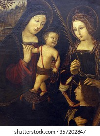 ZAGREB, CROATIA - DECEMBER 08: Jacopo Palma il Vecchio: Madonna and Child with St. Catherine, Old Masters Collection, Croatian Academy of Sciences, December 08, 2014 in Zagreb, Croatia