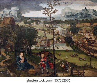 ZAGREB, CROATIA - DECEMBER 08: Joachim Patinir: The Flight into Egypt, Old Masters Collection, Croatian Academy of Sciences, December 08, 2014 in Zagreb, Croatia
