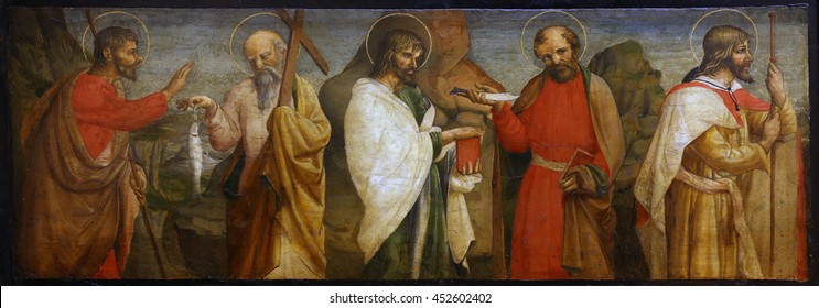 ZAGREB, CROATIA - DECEMBER 08: Lorenzo D'Alessandro: Five Apostles, Old Masters Collection, Croatian Academy of Sciences, December 08, 2014 in Zagreb, Croatia