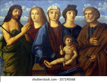ZAGREB, CROATIA - DECEMBER 08: Madonna and Child St. John the Baptist and Peter and donors, Old Masters Collection, Croatian Academy of Sciences, December 08, 2014 in Zagreb, Croatia