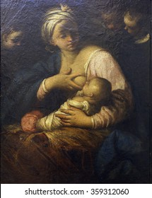 ZAGREB, CROATIA - DECEMBER 08: Simone Cantarini: Virgin and Child, Old Masters Collection, Croatian Academy of Sciences, December 08, 2014 in Zagreb, Croatia