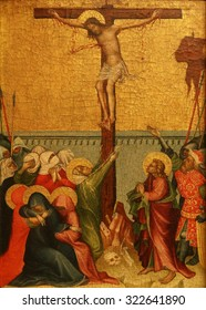 ZAGREB, CROATIA - DECEMBER 08: Unknown Styrian painter: Crucifixion, Old Masters Collection, Croatian Academy of Sciences, December 08, 2014 in Zagreb, Croatia