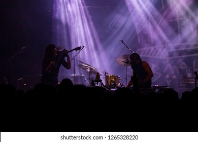 ZAGREB, CROATIA - DECEMBER 09, 2018: Hard Rock band The Picturebooks performing in Tvornica Kulture (Culture Factory) in Zagreb, Croatia. The Picturebooks performing on stage.