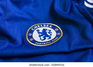 ZAGREB, CROATIA - DECEMBER 11, 2016. - Emblem of london football club Chelsea on Chelsea jersey.