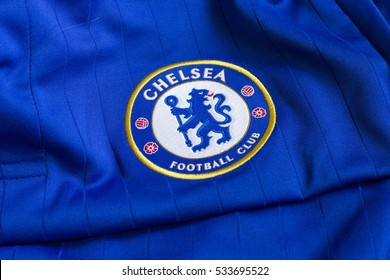 ZAGREB, CROATIA - DECEMBER 11, 2016. - Emblem of london football club Chelsea on Chelsea jersey.