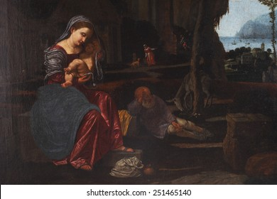 ZAGREB, CROATIA - DECEMBER 12: Giovanni Gerolamo Savoldo: Rest on the Flight into Egypt, exhibited at the Great Masters renesnse in Croatia, opened December 12, 2011. in Zagreb, Croatia